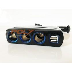 TRIPLE PRISE ALLUME CIGARE - USB - 12/24V - 120W