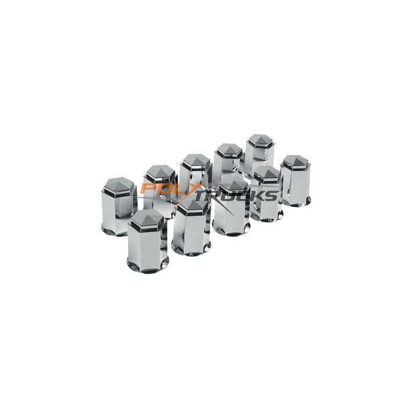 CACHE-ECROUS CHROMES PLASTIQUE  - 33MM - X10