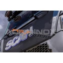 """LOGO DE CALANDRE INOX - ECRITURE """" SCANIA """" POUR SCANIA S/R - LED"""