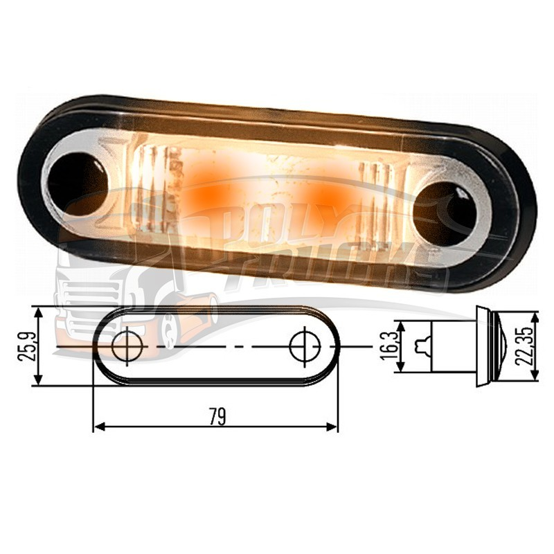 FEU DE GABARIT HELLA - 2 LEDS A ENCASTRER - ECLAIRAGE ORANGE
