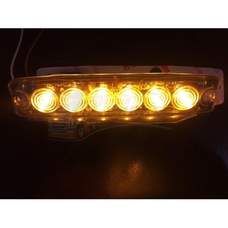 FEU FLASH A ECLATS EXTRA PLAT ORANGE 12-24V 6 LEDS