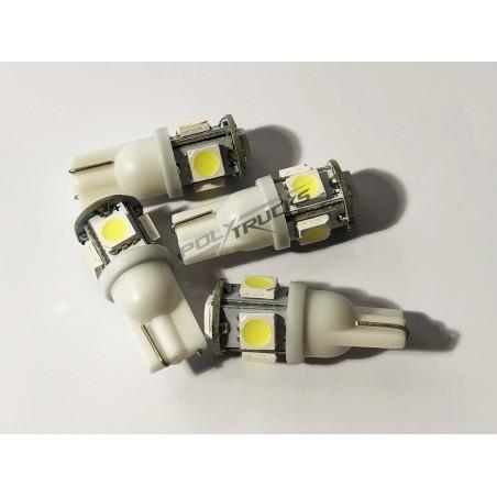 AMPOULE LED - W5W - 5 LEDS - BLANC - 24V - 10W