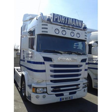 Visière Scania R - 350mm - 9 Emplacements de veilleuses + 4 Longues Portées